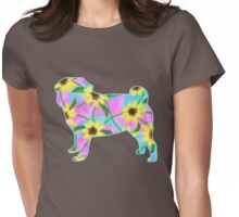 Pug, Watercolor Sunflowers Womens Fitted T-Shirt