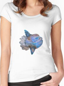 Blue Watercolor Mola Women's Fitted Scoop T-Shirt