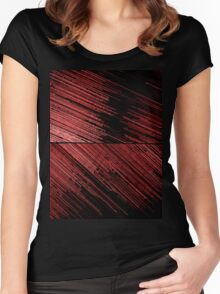 Line Art - The Scratch, red Women's Fitted Scoop T-Shirt