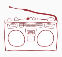 Red Boombox Sketch Kids Clothes