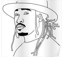 Future Hendrix black and white outline Poster