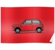 Honda N600 Red Kei Car Poster