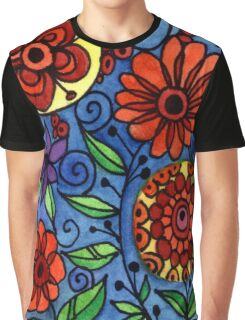 Abstract Colorful Flowers Graphic T-Shirt