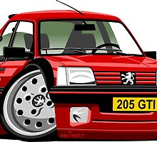 Peugeot 205 GTI caricature red by car2oonz