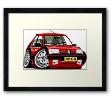 Peugeot 205 GTI caricature red Framed Print