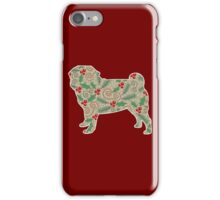 Christmas Holly Pug iPhone Case/Skin