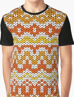 Orange seamless knitting pattern. Autumn background. Graphic T-Shirt