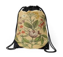 Vintage,rustic,shabby chic,hand drawn flower illustration from the victorian era Drawstring Bag