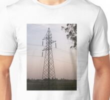 A transmission tower carrying electric lines in the countryside Unisex T-Shirt