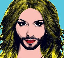 Conchita Wurst - Pop Art - Blue version 5 by lockwie