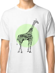 Stripes and Giraffe- Green Classic T-Shirt