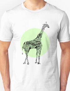 Stripes and Giraffe- Green Unisex T-Shirt