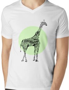 Stripes and Giraffe- Green Mens V-Neck T-Shirt