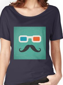 Hipster,3d glasses,mustache,green rustic background,trendy,modern Women's Relaxed Fit T-Shirt