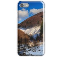 stream between snowy mountains with deciduous and conifer forest iPhone Case/Skin