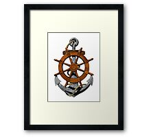 Nautical Ships Wheel And Anchor Framed Print