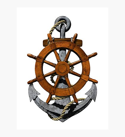 Nautical Ships Wheel And Anchor Photographic Print