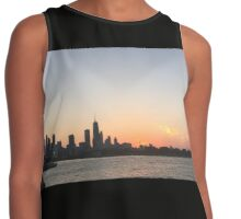Chicago Sunset Skyline from Navy Pier Contrast Tank
