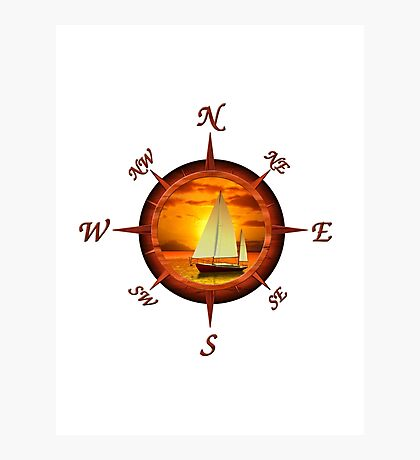 Sailboat And Compass Photographic Print
