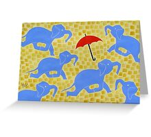 Blue Elephants at Play Greeting Card