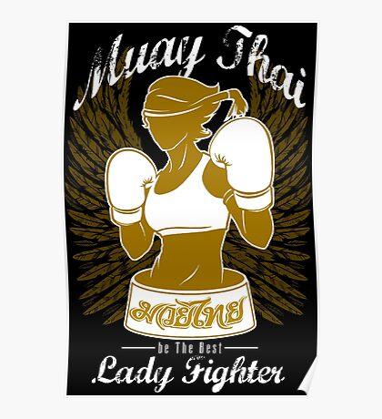 muay thai girl fighting thailand female fighter tshirt hoodie Poster