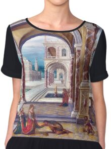 High Quality Restored Hendrick van Steenwyck the Younger - The Courtyard of a Renaissance Palace by LarcenIII Chiffon Top