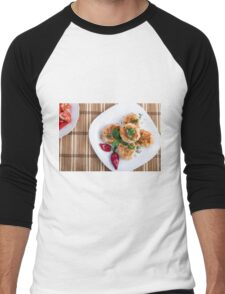 Top view on food made from natural ingredients Men's Baseball ¾ T-Shirt