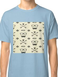Cool hipster pattern,mustache,glasses,hearts,arrows,trendy,hip,post modern Classic T-Shirt