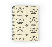 Cool hipster pattern,mustache,glasses,hearts,arrows,trendy,hip,post modern Spiral Notebook