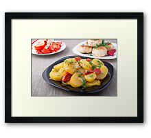 Natural homemade food on the kitchen table closeup Framed Print
