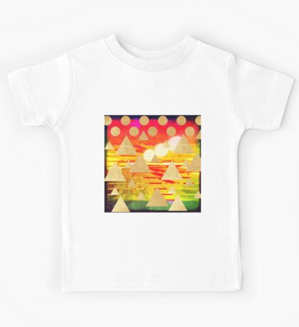 Abstract art,gold mountains,gold,polka dots,stripes,red,yellow,orange,stripes,amazing,awesome,landscape Kids Tee