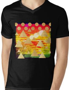 Abstract art,gold mountains,gold,polka dots,stripes,red,yellow,orange,stripes,amazing,awesome,landscape Mens V-Neck T-Shirt