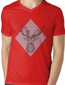 Pink Geometric Stag Mens V-Neck T-Shirt