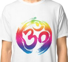 ohm rainbow symbol meditation yoga pose gym fitness shirt Classic T-Shirt