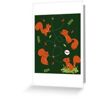 Feisty Squirrels Food Fight Greeting Card