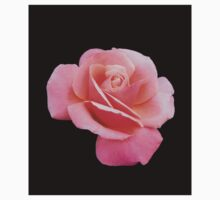 Tender Pink Rose on Black Background Baby Tee