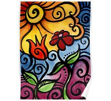 Colorful Summer Sun Flowers Poster