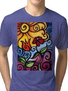 Colorful Summer Sun Flowers Tri-blend T-Shirt