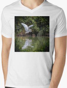 Egret Hunting for Lunch Mens V-Neck T-Shirt