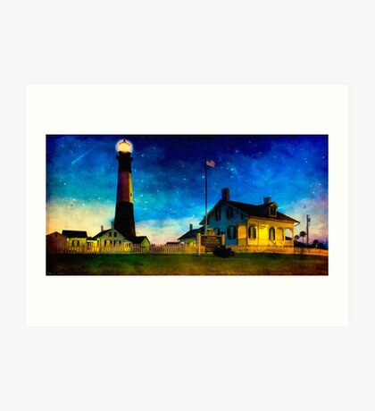 Tybee Lighthouse Fantasy - Night Falls on The Georgia Coast Art Print