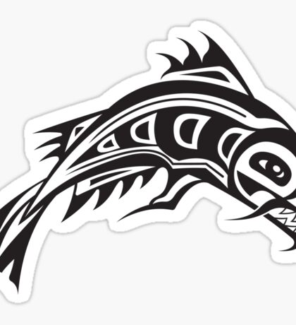 Northwest Native Indian fish totem (horizontal) Sticker