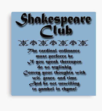 Shakespeare Club Canvas Print