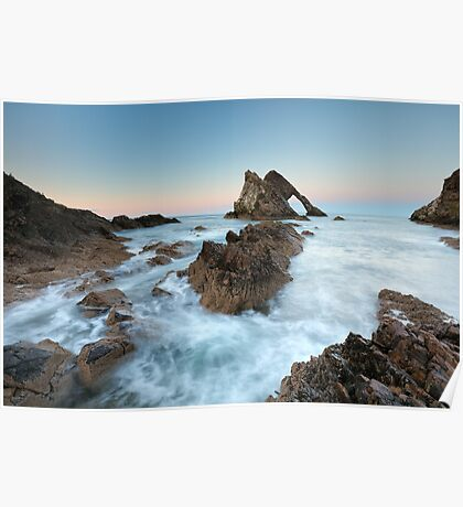Sunset at Bow Fiddle Rock Poster