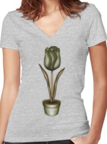 Flower & Pot III Women's Fitted V-Neck T-Shirt