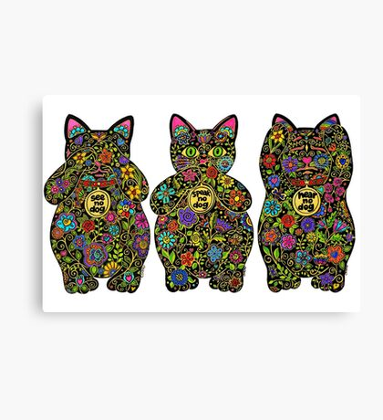 Three Wise Lucky Black Cats  Canvas Print