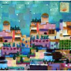 Exotic holiday - pixel block digital art cityscape by goanna