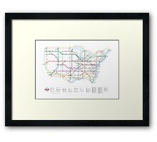 U.S. Interstate Highways as a Subway Map Framed Print