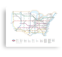 U.S. Interstate Highways as a Subway Map Canvas Print