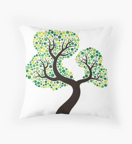 Colorful tree, colouring art Throw Pillow