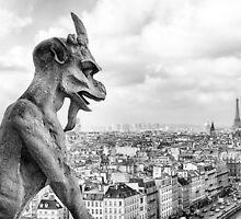 Notre Dame Gargoyle Overlooking Paris Cityscape by Mark Tisdale